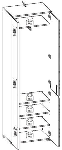 Selene 22 szafa z lustrem dwudrzwiowa techniczny