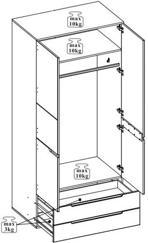 Selene 28 szafa dwudrzwiowa z szufladami techniczny