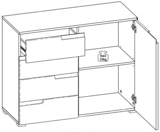 Selene 5 komoda z szufladami techniczne