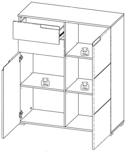 Selene 7 komoda dwudrzwiowa z szufladami techniczny