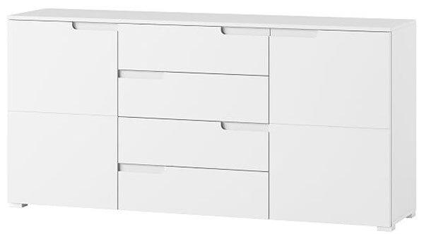 Selene 8 komoda dwudrzwiowa z szufladami biały mat biały połysk
