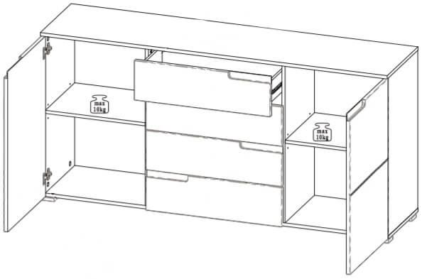 Selene 8 komoda dwudrzwiowa z szufladami techniczny