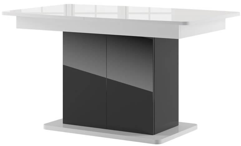 Star 03 stół 140-2210 cm kolumnowy rozsuwany biały połysk czarny połysk