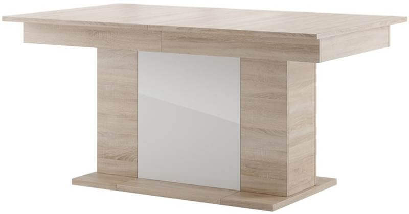 Star 06 stół 160-410 cm kolumnowy rozsuwany dąb sonoma biały połysk