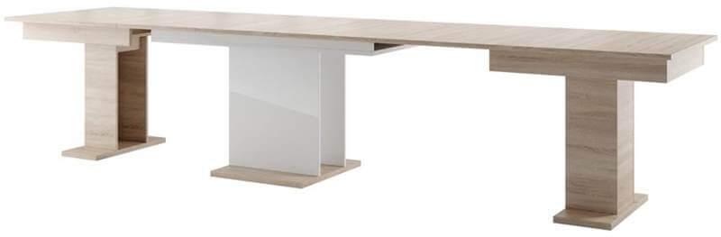 Star 06 stół 160-410 cm kolumnowy rozsuwany rozłożony dąb sonoma biały połysk