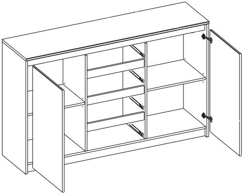 Wenecja 06 komoda 145 cm dwudrzwiowa z szufladami techniczne