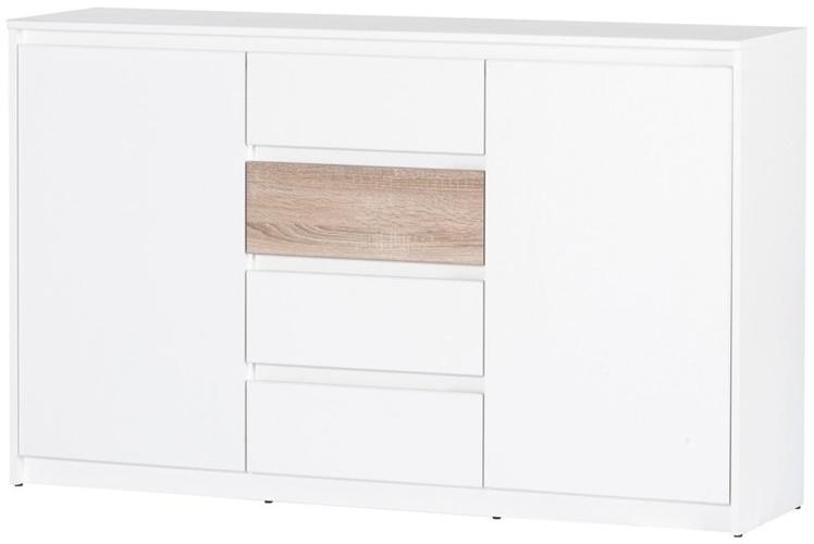 Wenecja 06 komoda 145 cm dwudrzwiowa z szufladami biały dąb sonoma