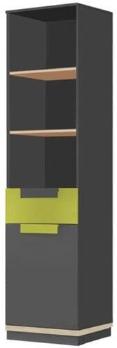 Wow 01 regał wąski jednodrzwiowy z szufladą grafit zieleń iguana dąb nagano