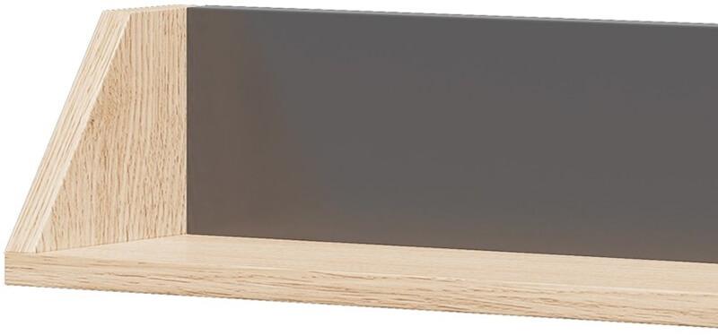 Wow 14 półka wisząca grafit dąb nagano zbliżenie